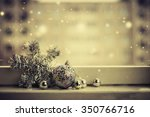 christmas decoration on wooden... | Shutterstock . vector #350766716