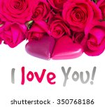 dark pink blooming  roses with... | Shutterstock . vector #350768186