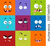 set of cartoon faces with... | Shutterstock .eps vector #350768450