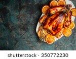 roast whole turkey or chicken...   Shutterstock . vector #350772230