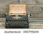 antique typewriter with grungy... | Shutterstock . vector #350795654