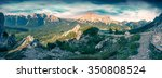 panorama of summer morning on... | Shutterstock . vector #350808524