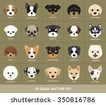 Set Of Dogs Vector Illustration....