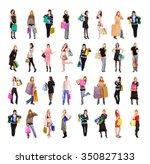 money is happiness crowd of... | Shutterstock . vector #350827133