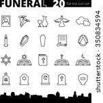 funeral cemetery vector icon... | Shutterstock .eps vector #350834594