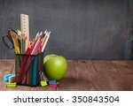 school and office supplies and... | Shutterstock . vector #350843504