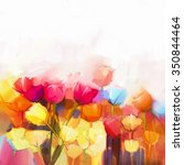 oil painting yellow  pink and... | Shutterstock . vector #350844464