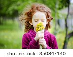 little girl closed her eyes and ... | Shutterstock . vector #350847140