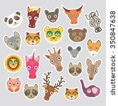 sticker set of funny animals... | Shutterstock . vector #350847638