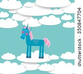 funny unicorn white clouds on... | Shutterstock . vector #350847704