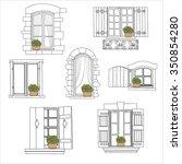 vintage windows set with... | Shutterstock .eps vector #350854280