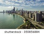 chicago skyline aerial view...   Shutterstock . vector #350856884