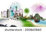 travel the world monument... | Shutterstock . vector #350865860