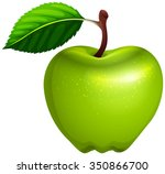 green apple with leaf and stem... | Shutterstock .eps vector #350866700