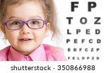 smiling girl putting on glasses ... | Shutterstock . vector #350866988