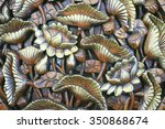 Golden Lotus Wood Carving