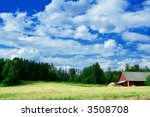 Swedish country side scenery - stock photo