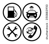 gas station service icons set | Shutterstock .eps vector #350883950