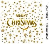 golden glowing merry christmas... | Shutterstock .eps vector #350884934