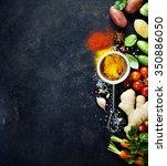 fresh  ingredients on dark... | Shutterstock . vector #350886050