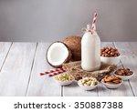 vegan milk from nuts in the...   Shutterstock . vector #350887388