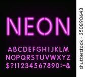 alphabet font. purple neon tube ... | Shutterstock .eps vector #350890643