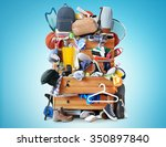 mess  dresser with scattered... | Shutterstock . vector #350897840