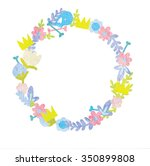 floral frame. retro flowers... | Shutterstock .eps vector #350899808