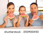 beautiful family of three... | Shutterstock . vector #350900450