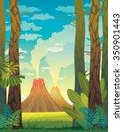 prehistoric landscape with... | Shutterstock .eps vector #350901443
