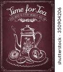 illustration time for tea and... | Shutterstock .eps vector #350904206