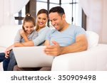 middle aged man with family... | Shutterstock . vector #350909498