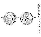 hand drawn hippie sun glasses... | Shutterstock .eps vector #350912900