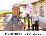 happy soldier returning home... | Shutterstock . vector #350916920