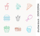 hamburger  pizza and soft drink ... | Shutterstock .eps vector #350920904