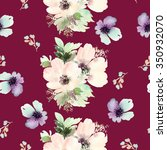 seamless pattern with flowers... | Shutterstock . vector #350932070