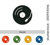 vinyl record turntable icon | Shutterstock .eps vector #350954546