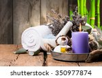 spa massage setting  product ... | Shutterstock . vector #350977874