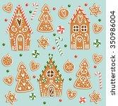 set of christmas gingerbread... | Shutterstock .eps vector #350986004