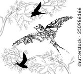 silhouettes of flying birds ... | Shutterstock .eps vector #350986166