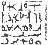 yoga poses collection set black ... | Shutterstock .eps vector #350989613