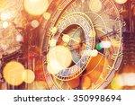 prague astronomical clock on... | Shutterstock . vector #350998694