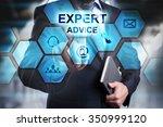 businessman pressing button on...   Shutterstock . vector #350999120