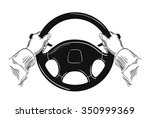 hands on car steering wheel... | Shutterstock .eps vector #350999369