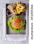 fresh homemade hamburger with...
