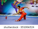 Small photo of JAKARTA, INDONESIA - NOVEMBER 17, 2015: Jesse Adalia of Singapore performs the movements in the men's Qiangshu event at the 13th World Wushu Championship 2015 at the Istora Senayan Stadium.