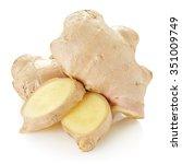 fresh ginger on white bakground ... | Shutterstock . vector #351009749