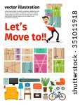 moving into new apartment... | Shutterstock .eps vector #351011918