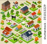 farm toy blocks isometric set.... | Shutterstock .eps vector #351013229