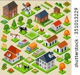 farm toy blocks isometric set....   Shutterstock .eps vector #351013229